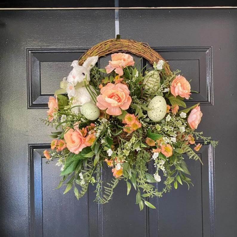 Perfectly Peachy Bunny and Egg Easter Wreath