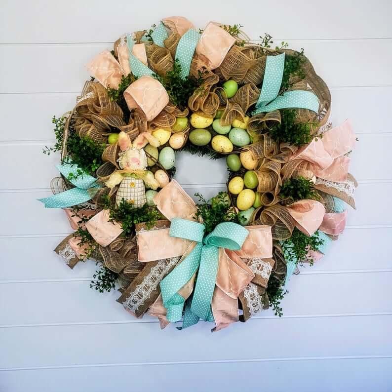 Teal and Peach Burlap Ribbon Easter Wreath
