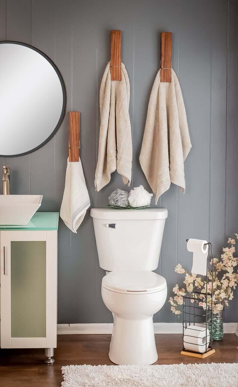 Jumbo Clothespin Towel Storage Holder