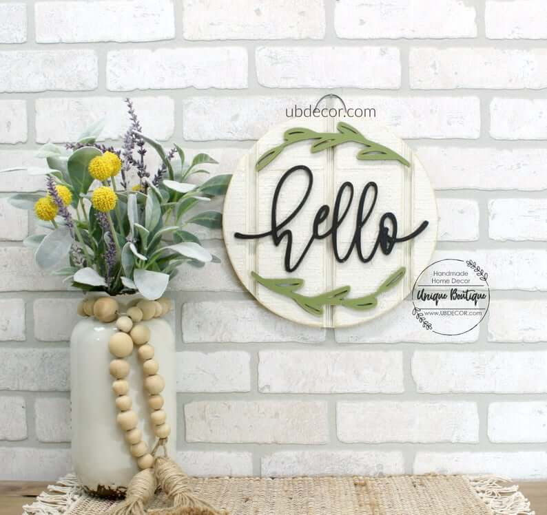 "Petite ""hello"" Wooden Shiplap Sign"