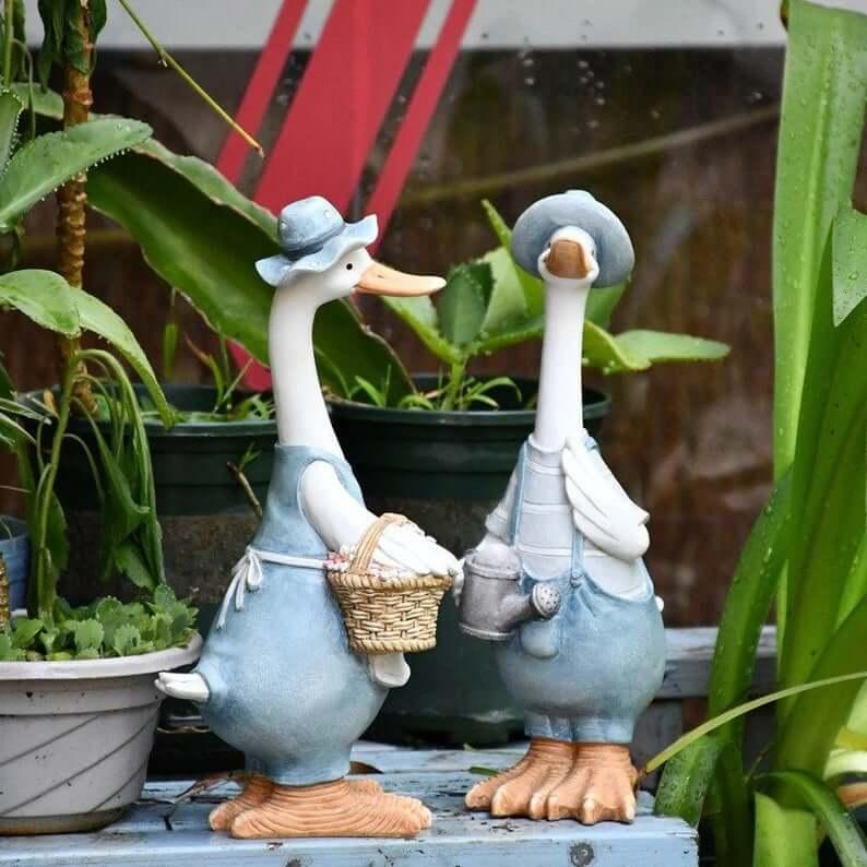 Darling Denim Duck Duo Garden Statues