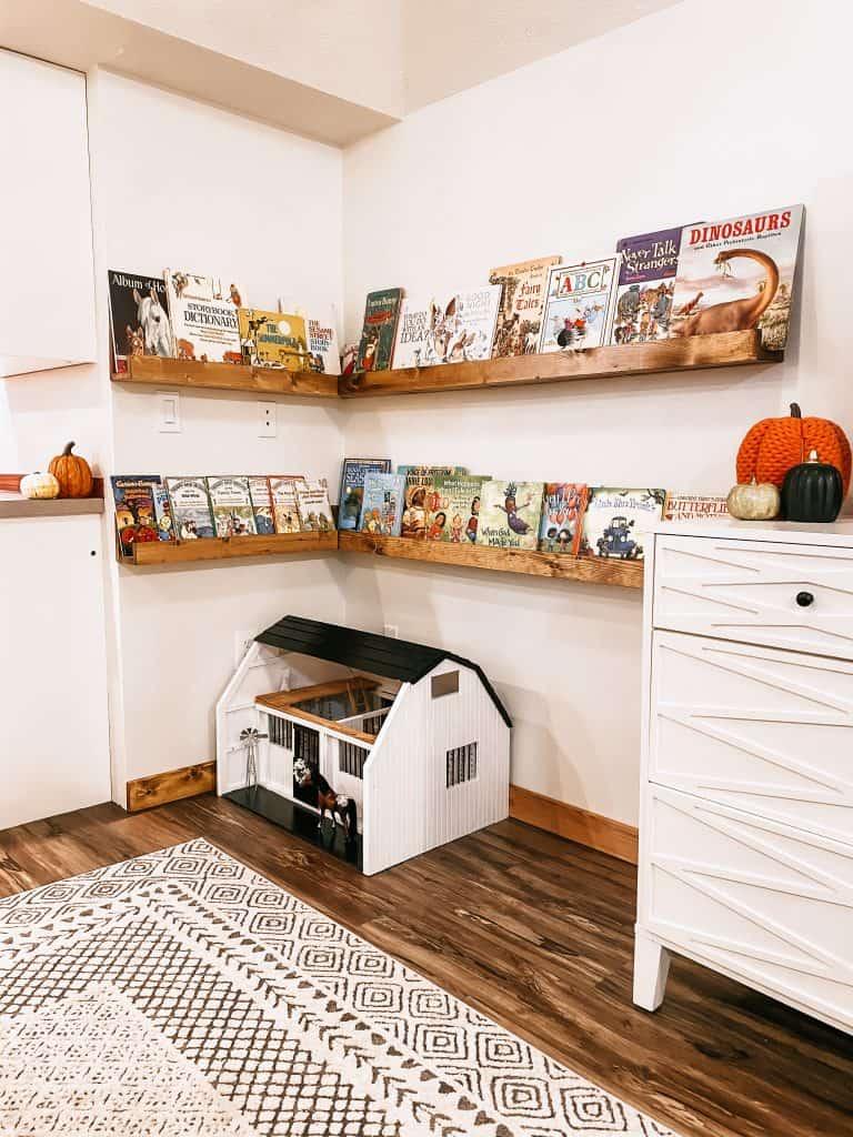Cozy Corner Book Nook with Wooden Shelves