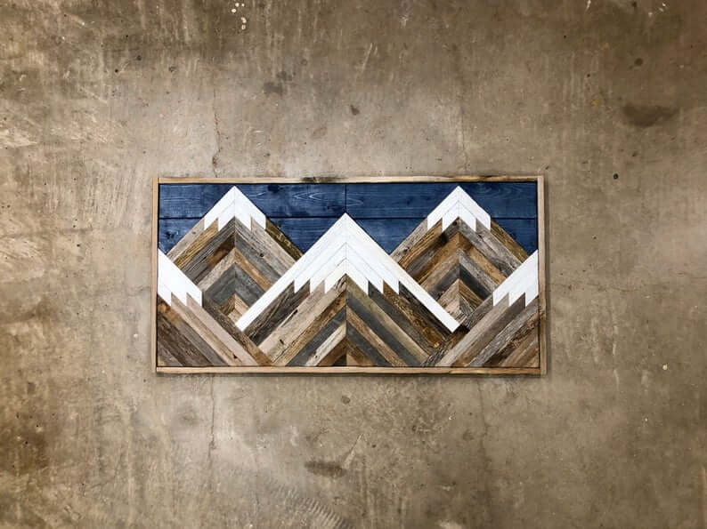 Handmade Reclaimed Wood Mountain Range with Blue Sky
