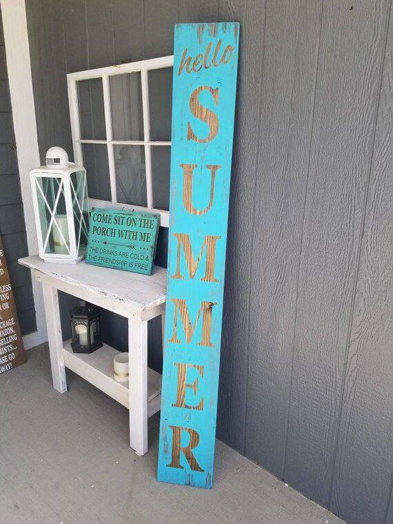 Vibrantly Blue Vertical Summer Welcome Sign