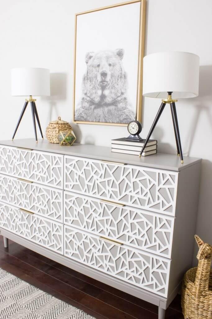 Patterned Geometric IKEA Dresser Transformation