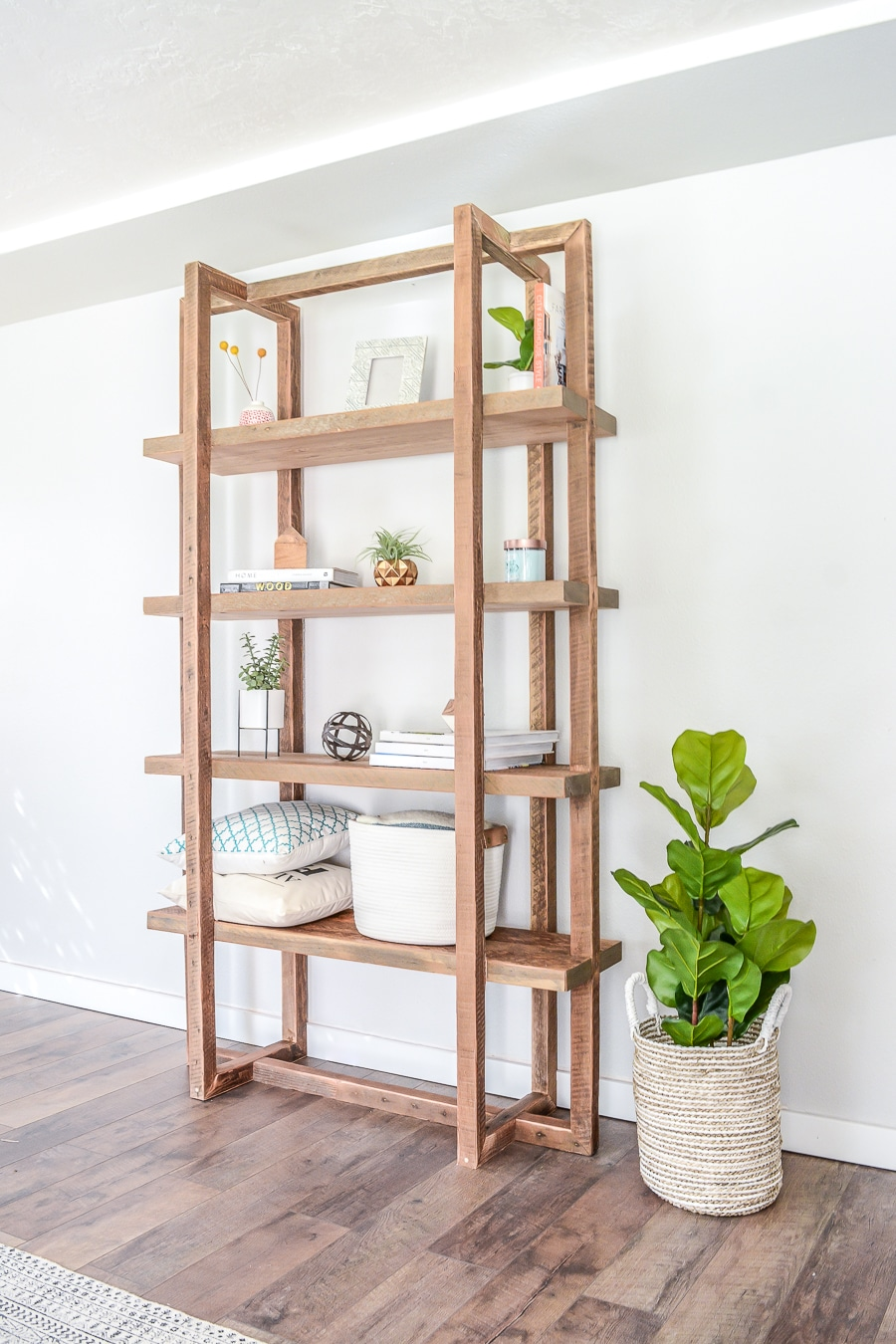 Rectangular Reclaimed Wood Geometric DIY Bookshelf