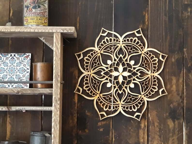 Hand-Painted Healing Lotus Mandala Wooden Wall Art