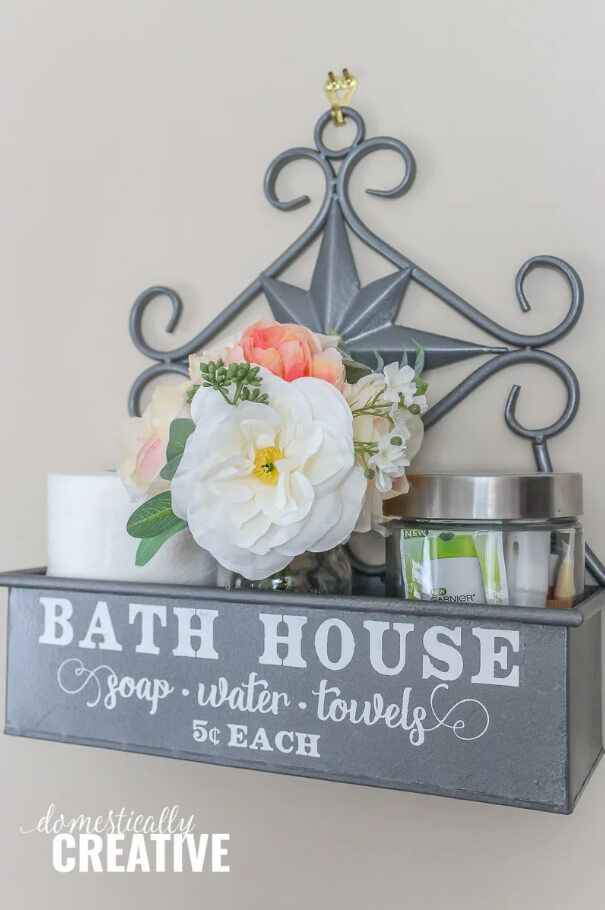 Metal Bath House Decorative Shelf Box
