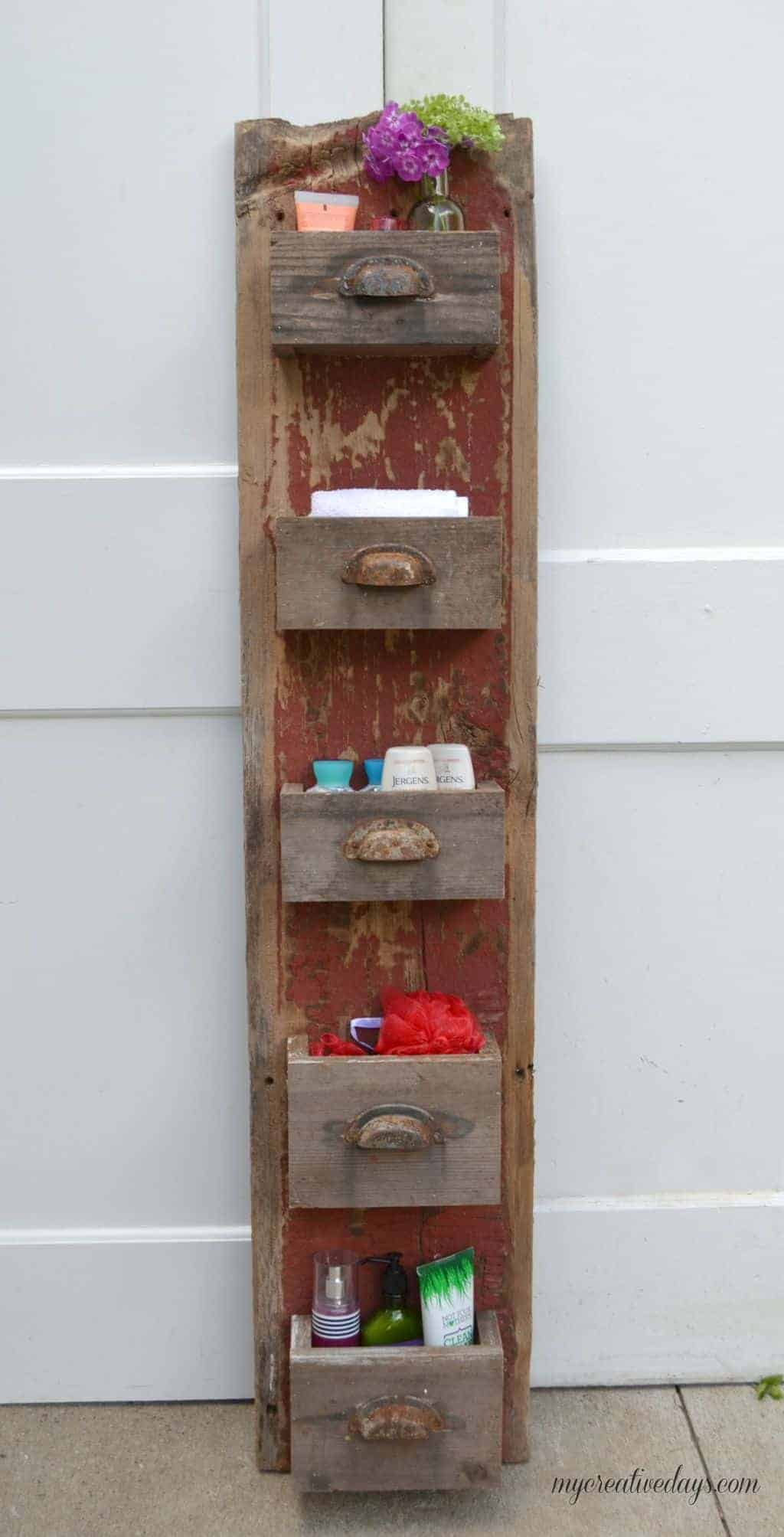 Rustic Red Barn Wood 5 Drawer Organizer