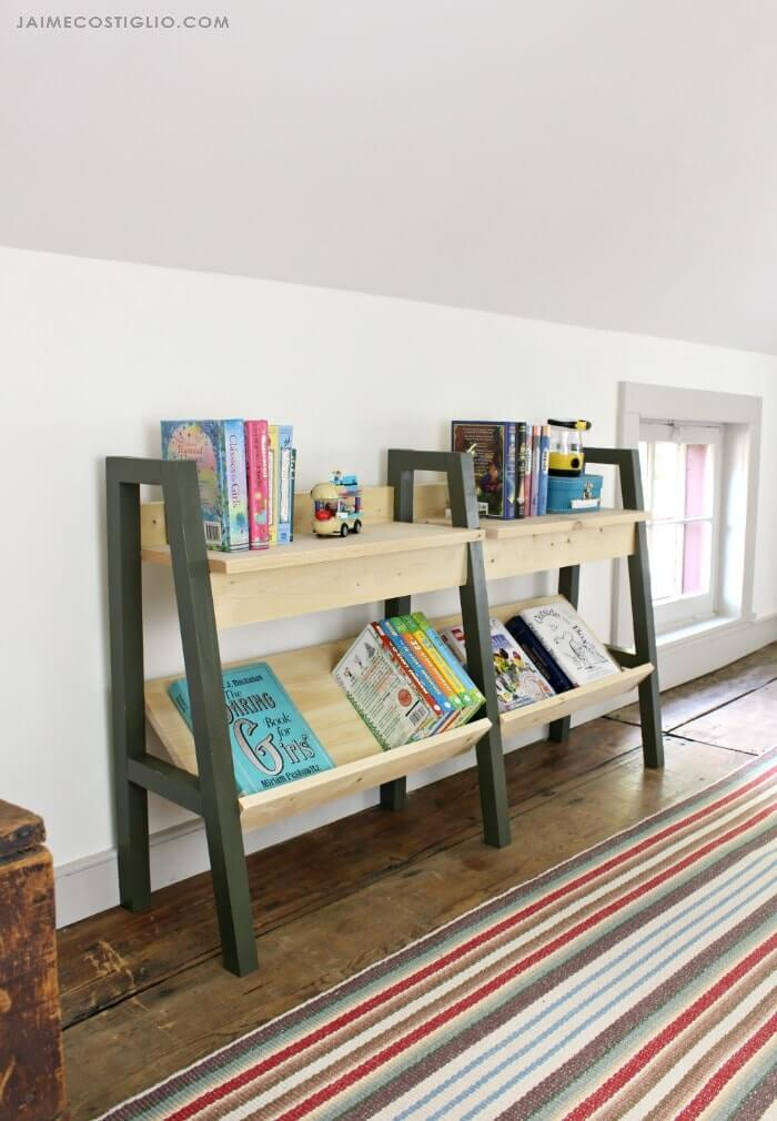 Easy Access Mid Century Modern DIY Bookcase