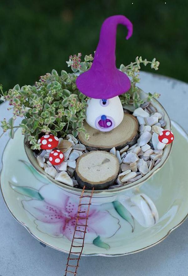 Miniature Fairy Garden Teacup and Saucer