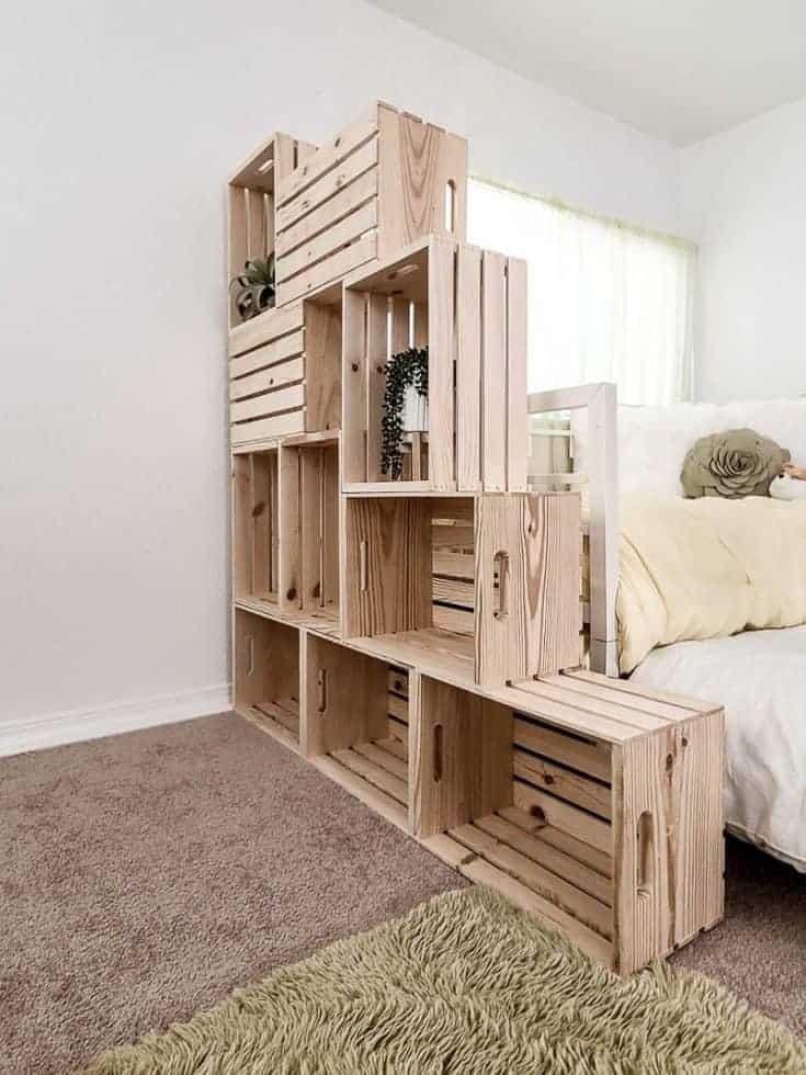 Wonderful Wooden Crate Bookshelf Room Divider