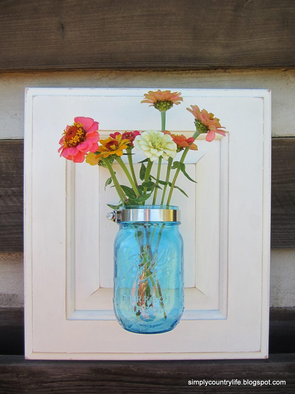 Repurposed Cabinet Mason Jar Wall Vase