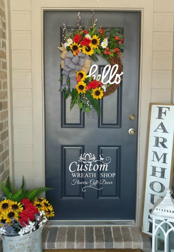 Stunning Grapevine Wreath with Colorful Flowers