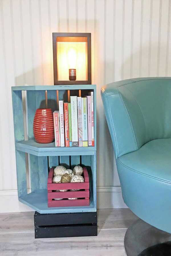 Stacked and Painted Open-Front End Table