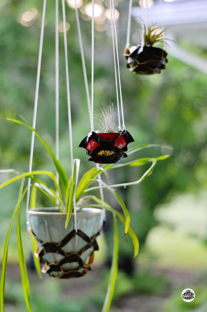 Black Leather Outdoor Hanging Plant Holders