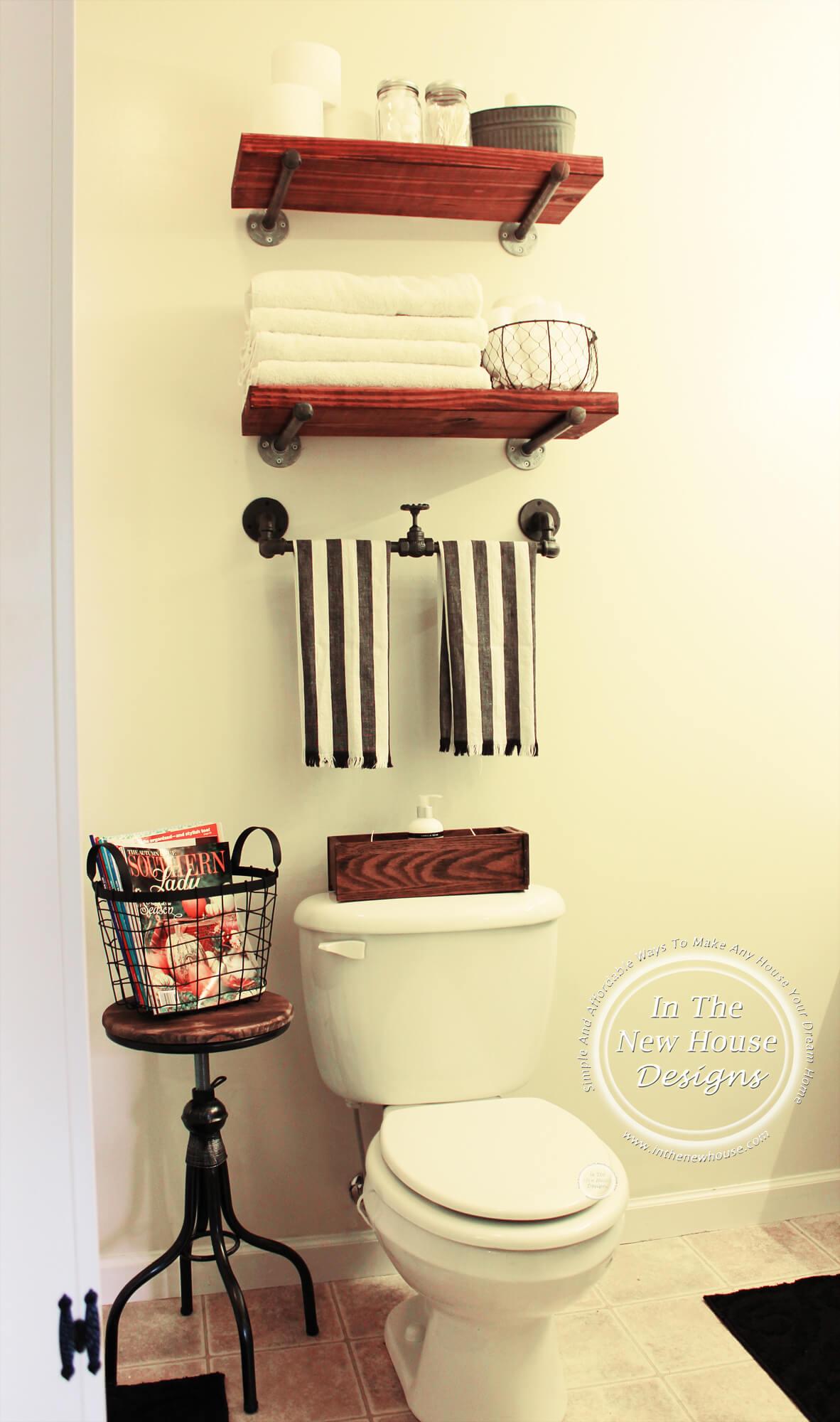 Modern Industrial Pipe Bathroom Shelf and Rack