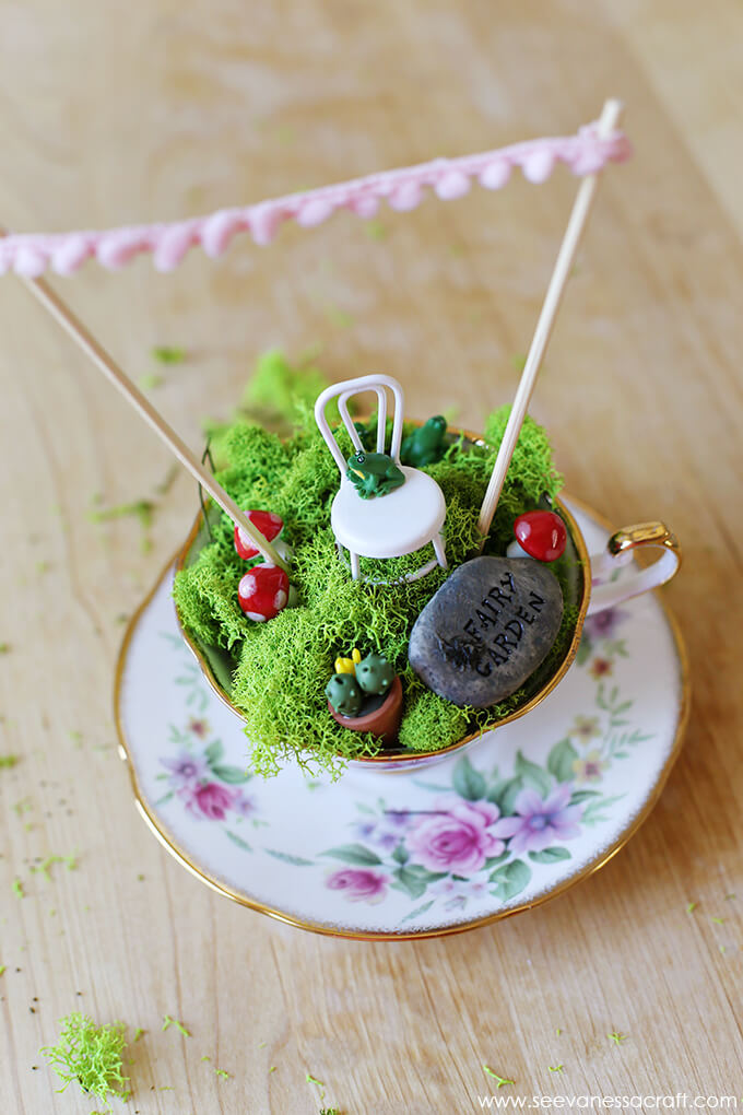 Victorian and Gold Trimmed Teacup Mini Garden
