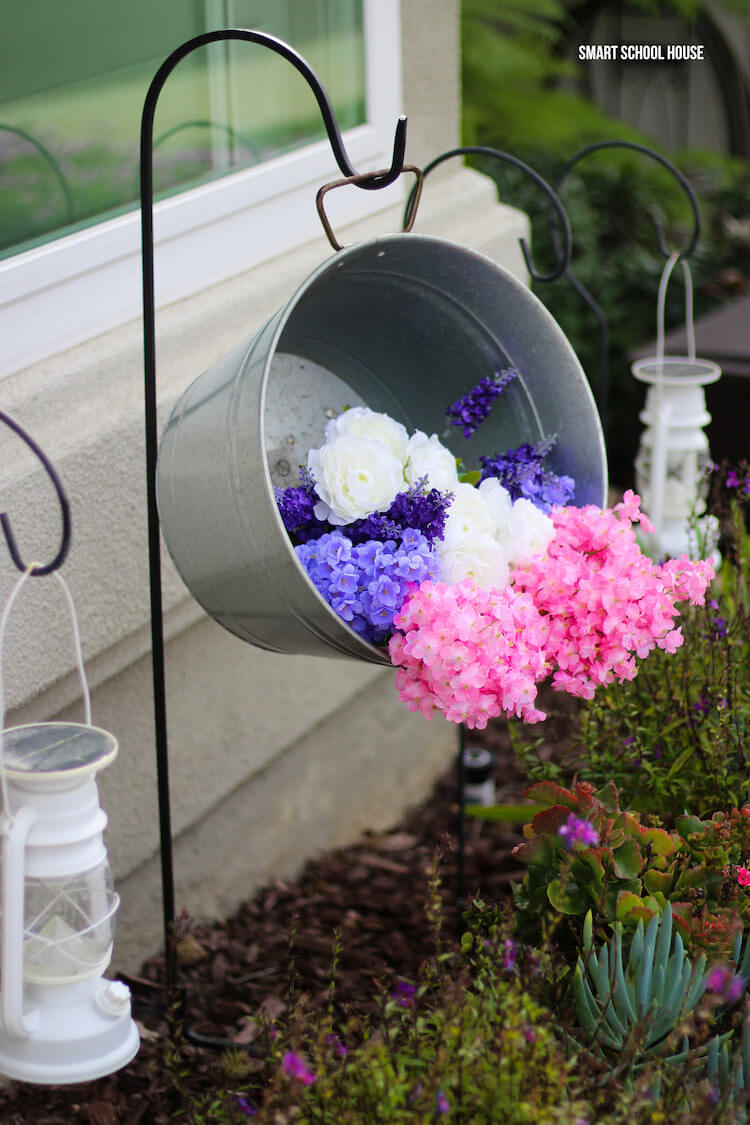 Cascading Flowers in a Galvanized Tub Planter