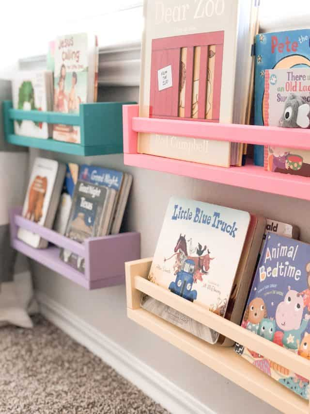 Painted Spice Rack Bookshelves for Playroom