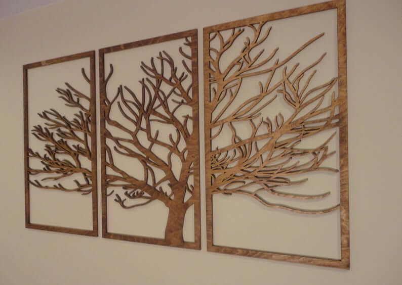 Easy-Hang Filigreed Tree Silhouette Panels