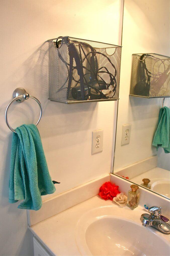 Mesh Metal Bin for Hair Dryer Storage