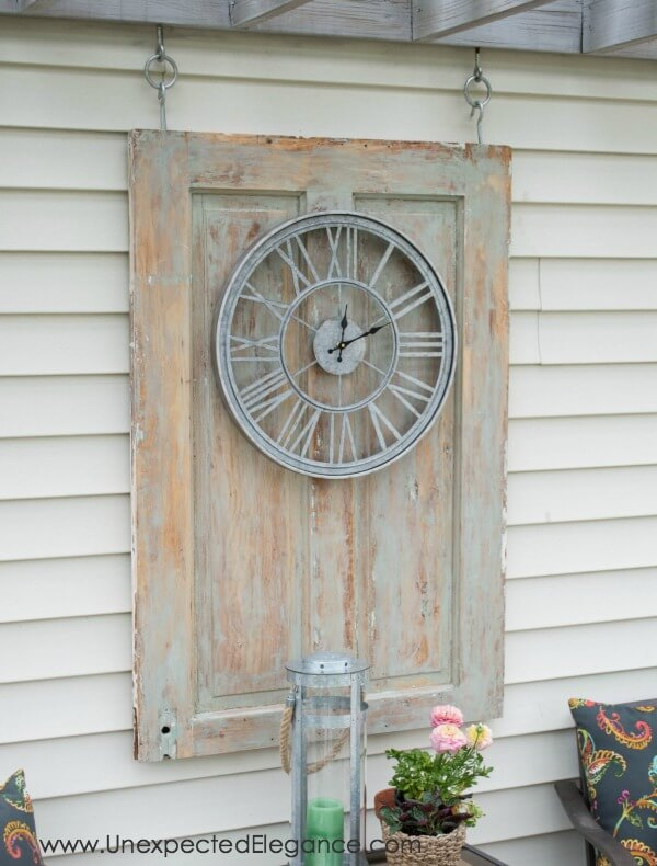 Classic Clock Mounted on a Reclaimed Door