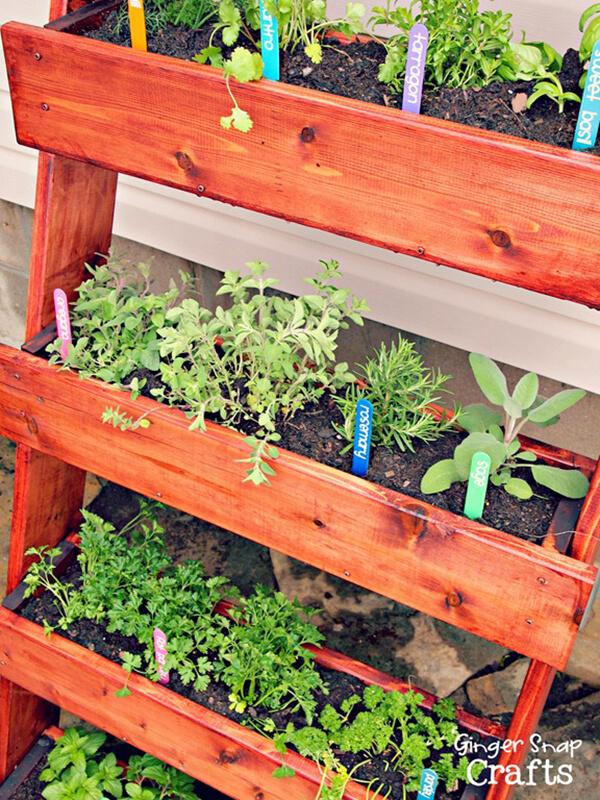 Vertical Herb Garden Using Stained Cedar Troughs