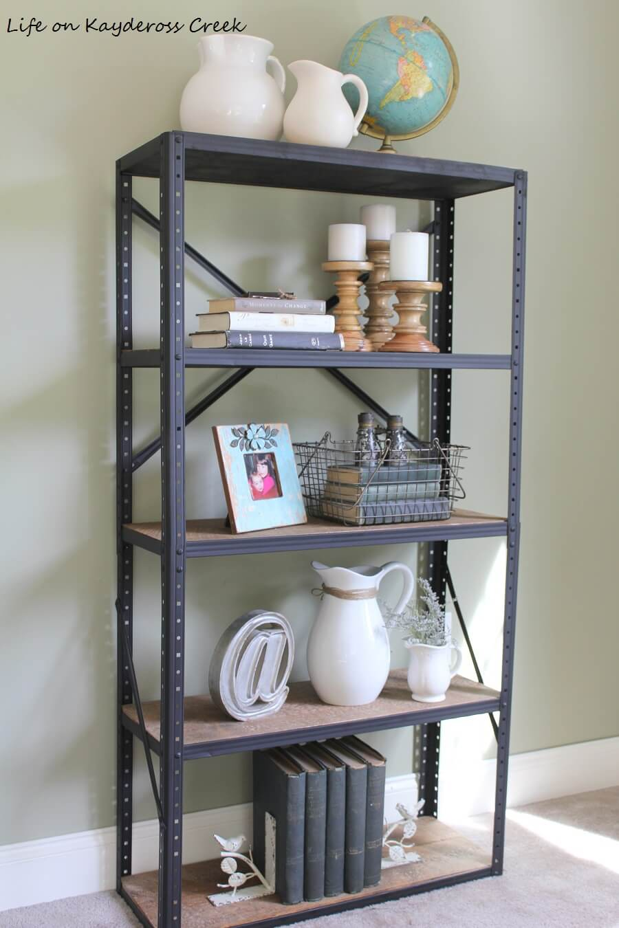 Black Industrial Bookshelf with Wooden Shelves