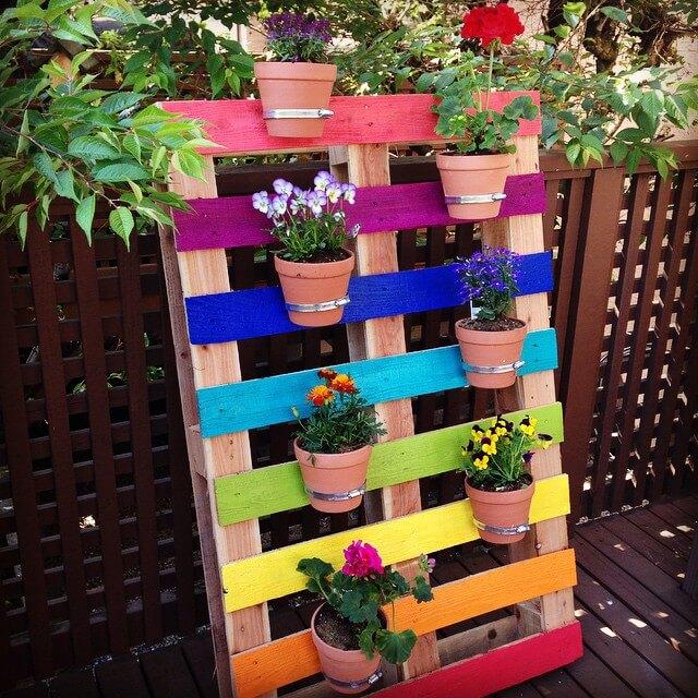 Rainbow Patterned Pallet Flower Garden Planter