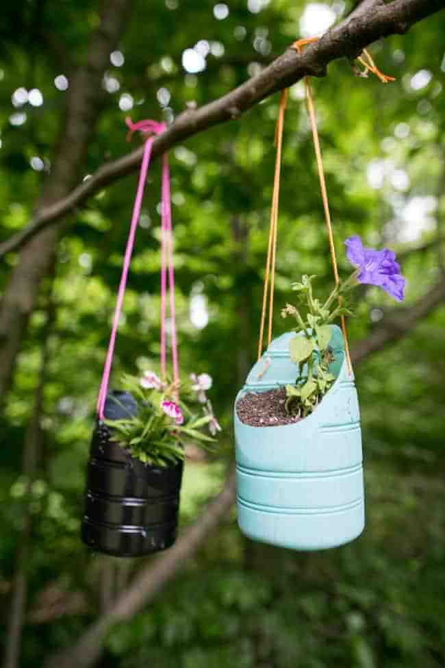 Recycled Containers as Playful Plastic Planters