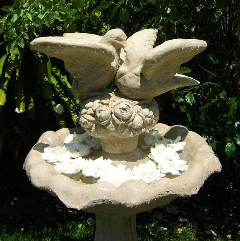 When Doves Cry Concrete Birdbath