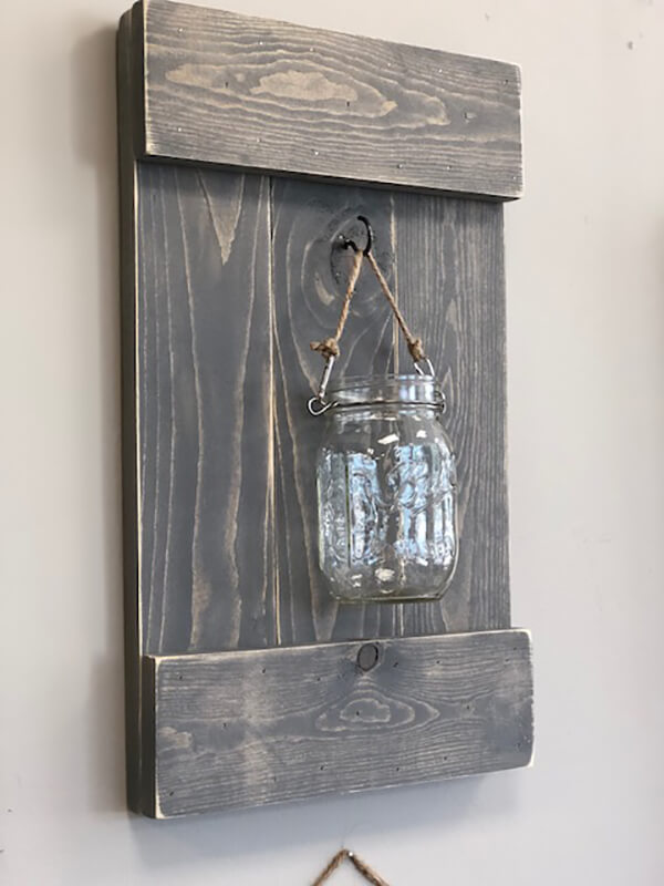 Traditional Wooden Mason Jar Wall Sconce