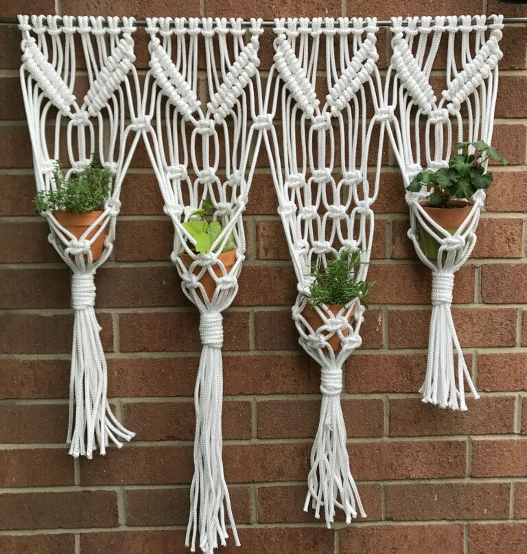 Quadruplet Group Macrame Style Woven Plant Hangers