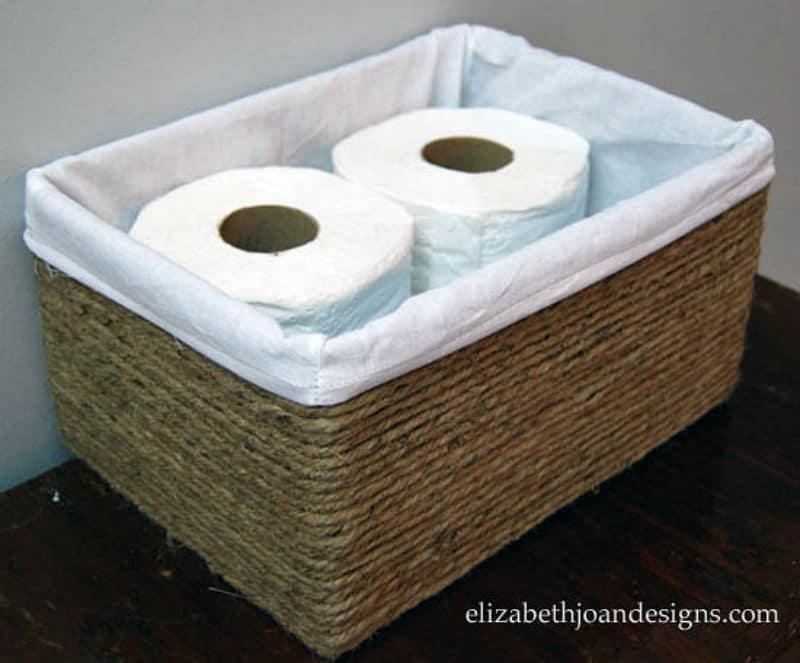 Rectangular Natural Jute String Bathroom Basket