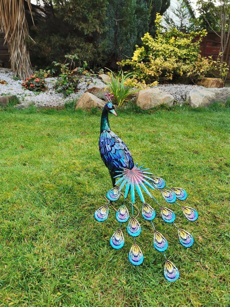 Bold and Proud Iridescent Peacock Garden Statue