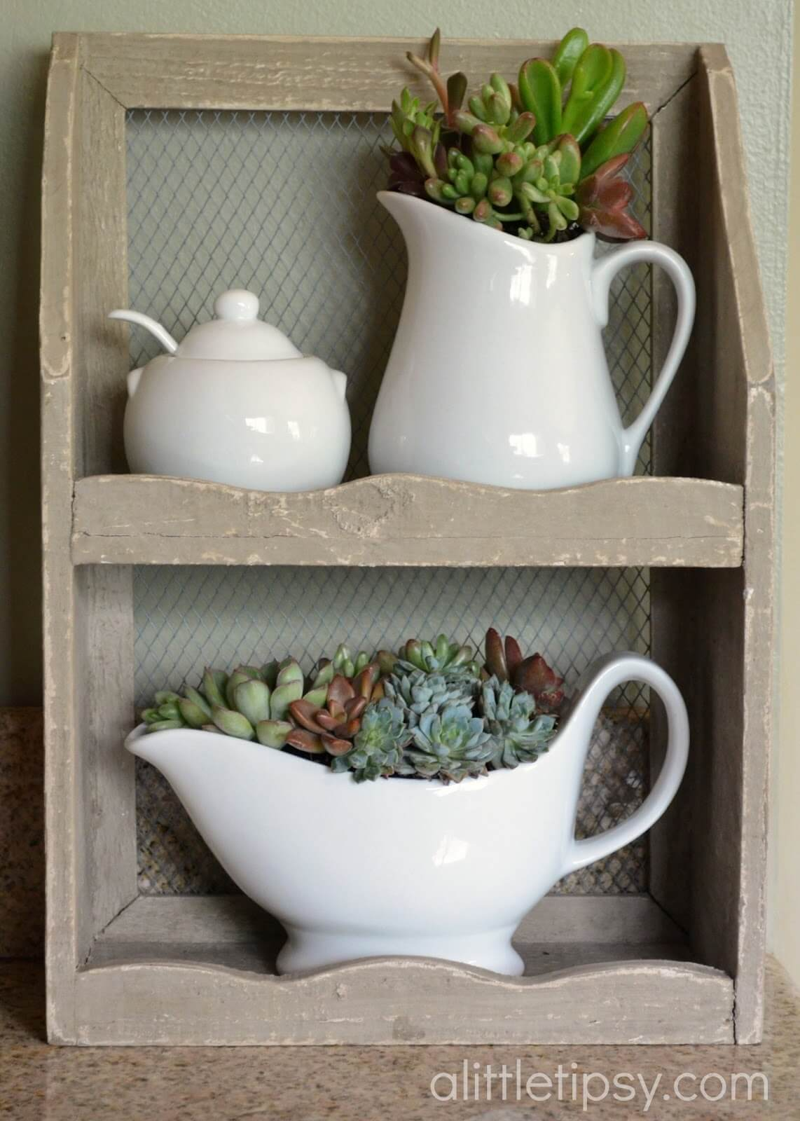 Sugar Bowl and Creamer Succulent Set