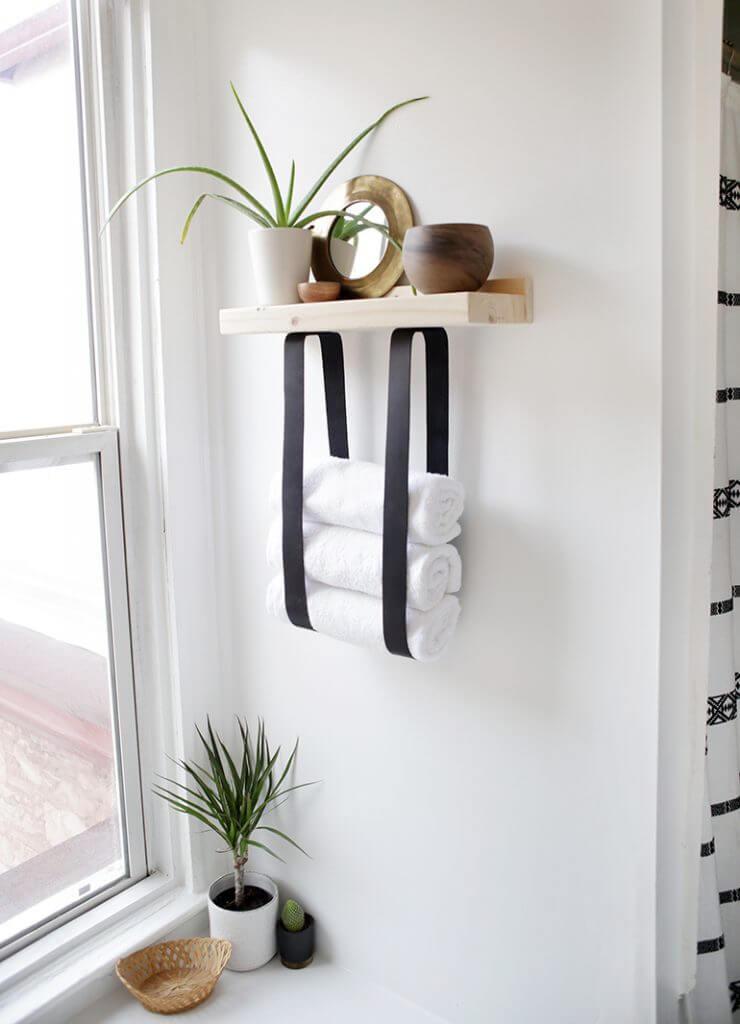 Natural Wood Shelf with Black Towel Holder