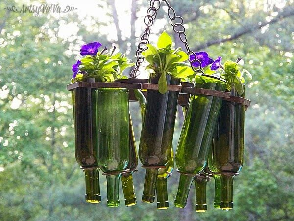 Glass Bottled Repurposed Planter Outdoor Chandelier