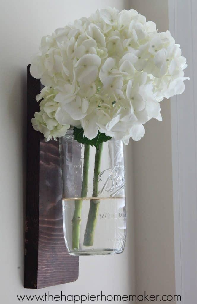 Upcycled Scrap Wood Mason Jar Wall Vase