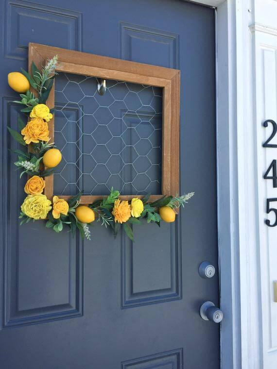 Lemon Frame Wreath with Chicken Wire