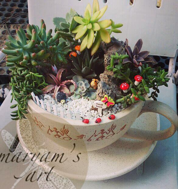 Hieroglyphics Pottery Tea Set Miniature Garden