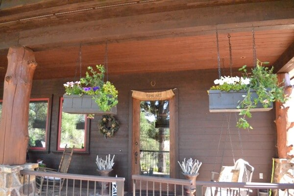 Rustic Rectangular Hanging Box Planters