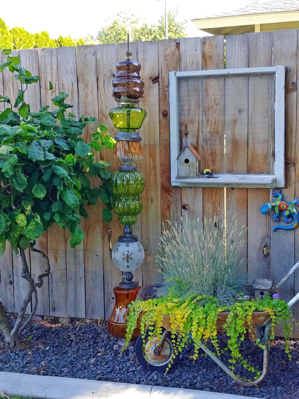Creative Repurposed Vintage Lamp Garden Pillar