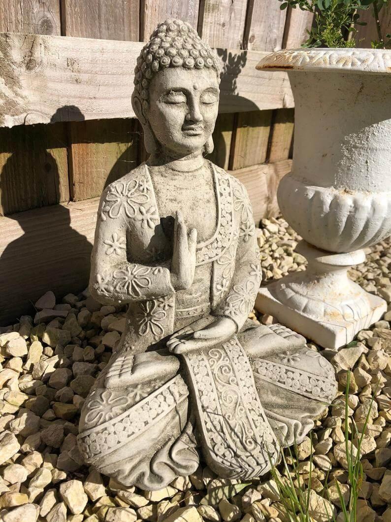 Decorative and Embellished Zen Meditation Garden Sculpture