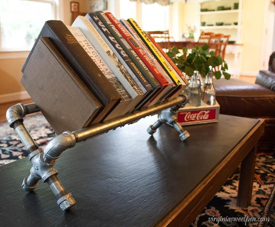 Small and Unique Tabletop Industrial Pipe Bookshelf