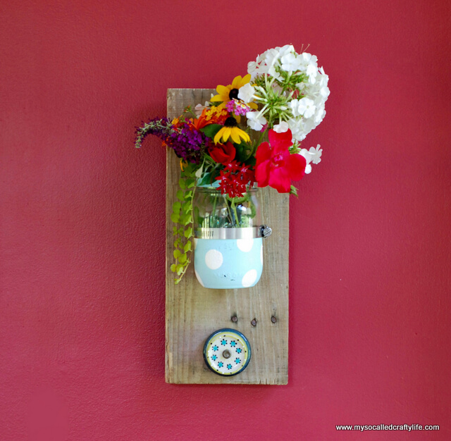 Colorful Reclaimed Wood Hanging Mason Jar