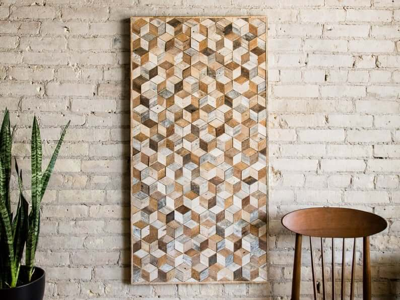 Naturally Aged Geometric Wood Wall Art Design
