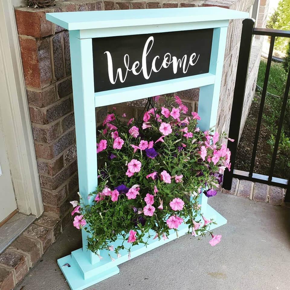 Porch Welcome Stand with Hanging Basket