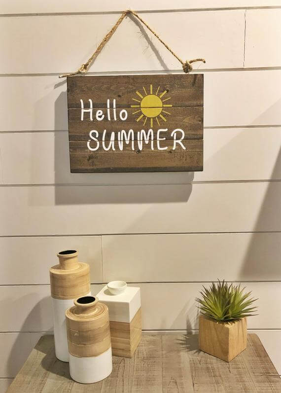 Reversible Welcome Summer Distressed Wooden Sign